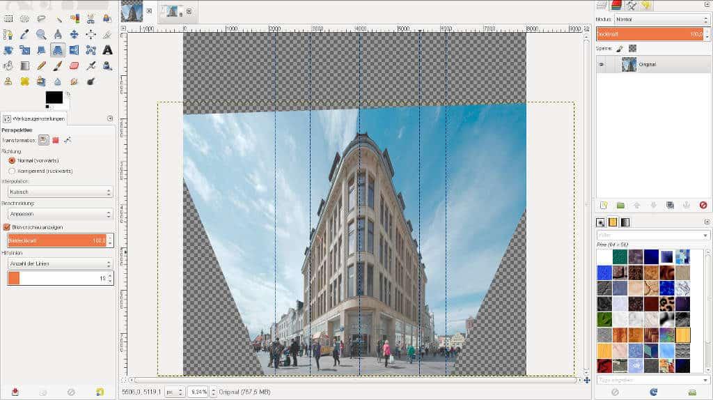 Perspektivkorrektur in GIMP